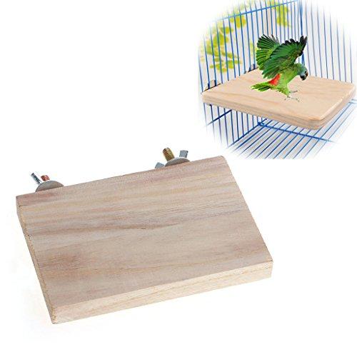 Qupida Bird Stand Platform Wooden Board Toy Rectangle Platform Perch for Pet Bird Cage