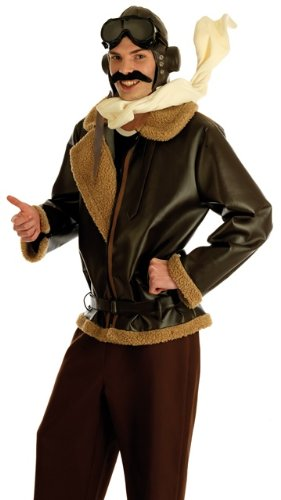 Biggles Costume (80s Biggles Aviator Pilot Male Fancy Dress Costume - L (Chest 42-44in))