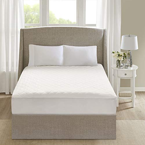 Beautyrest 100% Cotton 21 Inches Deep Pocket Maximum Warmth Hypoallergenic Electric Heated Mattress Pad Bed Heater With Auto Shutoff, Cal King Size, White