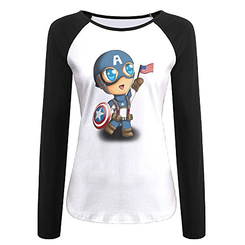 Creamfly Womens Captain Boy Long Sleeve Raglan Baseball Tshirt (Angelina Jolie Alexander Costumes)