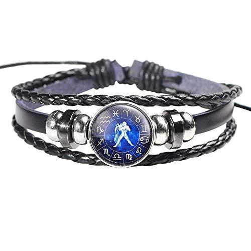 12 Zodiac Sign Bracelets Fashion Men Women Constellation Punk Woven Leather Bracelets