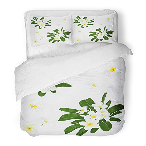 Emvency Bedding Duvet Cover Set Twin (1 Duvet Cover + 1 Pillowcase) Plumeria Tropical Exotic Flower Realistic Floral Botanical with for Spa Design White Hotel Quality Wrinkle and Stain Resistant by Emvency