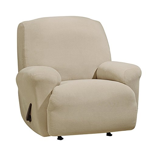 Polyester Suede Slipcover (Sure Fit Stretch Morgan 1-Piece  - Recliner Slipcover  - Khaki (SF45356))