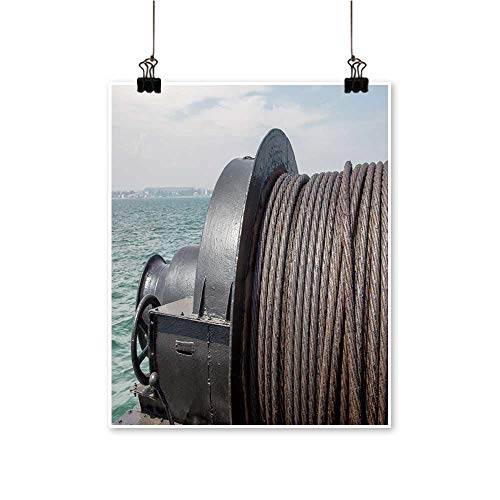 (Canvas Wall Art Metal Cable oile Marine Winch Ship backgroun The sea Steel Rope in The sea for Bathroom Home,32