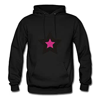 Long-sleeve Stars Sweatshirts Chic Designed Black Cotton X-large Women Customized