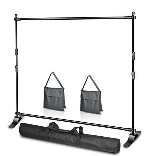 Emart 10 x 8ft (W X H) Photo Backdrop Banner Stand Heavy Duty - Adjustable Telescopic Tube Trade Show Display Stand, Step and Repeat Frame Stand for Professional Photography Booth Background Stand Kit