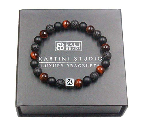 (Men's Mixed Stone and Sterling Silver Bracelet, Red Tiger's Eye, Lava Stone, and Black Onyx Bracelet, Bracelet for Man)