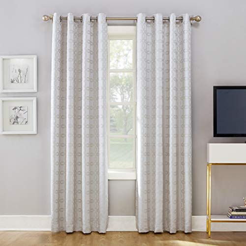 Sun Zero Rowes Woven Trellis Blackout Lined Grommet Curtain Panel, 52' x 84', White