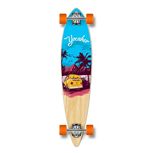 Yocaher Pintail Flat Pro Longboard Complete Cruiser Freeride Skateboard and Decks (Complete- VW Series -Blue N' Red)