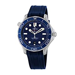 Stainless steel case with a blue rubber strap. Uni-directional rotating stainless steel bezel with a blue ceramic ring. Blue dial with luminous rhodium-plated hands and dot hour markers. Minute markers around the outer rim. Dial Type: Analog....