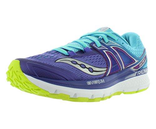 Picture of Saucony Women's Triumph iso 3 Running Shoe, Purple/Blue/Citron, 9 M US