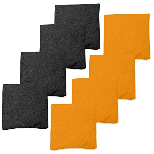 Play Platoon Premium Weather Resistant Duckcloth Cornhole Bags - Set of 8 Bean Bags for Corn Hole Game - Regulation Size & Weight - 4 Orange & 4 Black]()