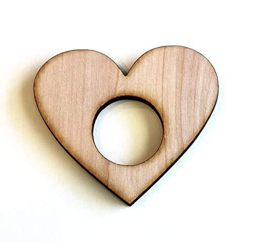KathShop Heart Wood Napkin Rings, Valentine's Day, Laser Cut