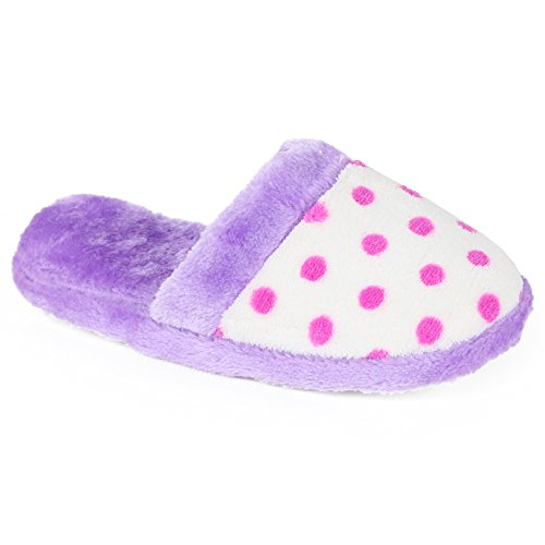 Chatties Girls Printed Plush Slipper (13-1 M US Little Kid, Purple with Dots)