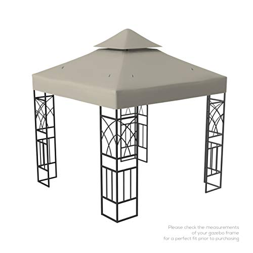 Kenley Gazebo Canopy Replacement Top 10x10 - Double Tier Patio Canopy Cover - Waterproof 250g Canvas Gazebo - Beige