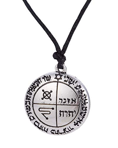 Talisman of Protection, Third Pentacle of Jupiter Against Evil Eye Seal King Solomon Amulet Pendant Necklace Gothic Jewelry for Men Women, Name IHVH (Antique Silver) -
