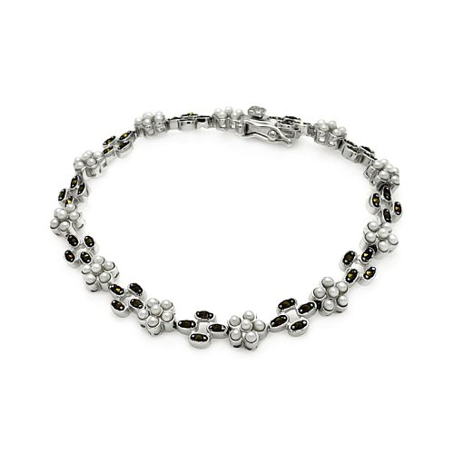 CloseoutWarehouse Simulated Marcasite And Synthetic Pearl Tennis Bracelet Sterling Silver (Sterling Silver Pearl & Marcasite Bracelet)