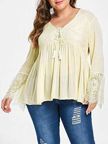 KCatsy Lace Panel Tassel Plus Size Blouse]()