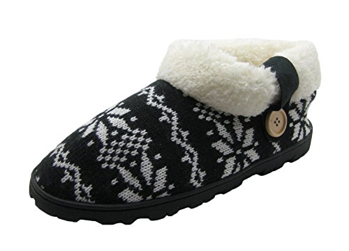 Womens Knit Sherpa Boot (Fashion Blue Ladies Knit Slipper Boots with Sherpa Cuff & Wodden Button (L/8-8.5, Black/White))