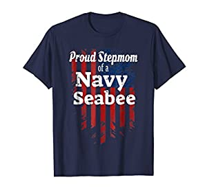 American Flag Proud Stepmom of a Navy Seabee T-shirt from Patriotic T Shirts by SqualkerTees