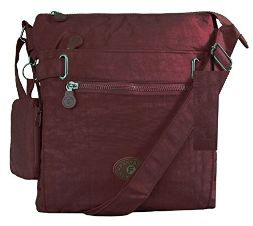 Cross Style Fabric 1 Body Brgll01 Compartment Pocket Messenger Multi TWO Bag Burgundy GFM 4zHawxqYa