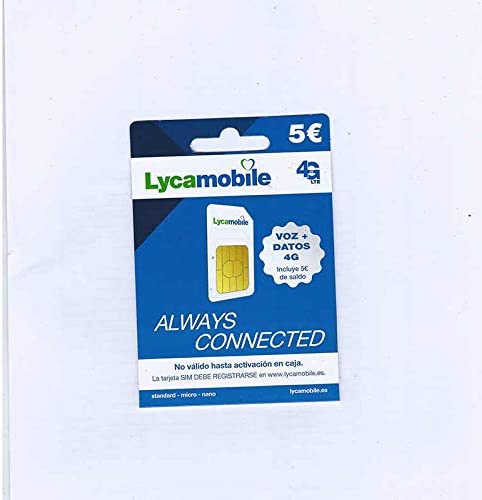 Tarjeta SIM Lycamobile - 5 Registrate TÚ Mismo: Amazon.es: Electrónica