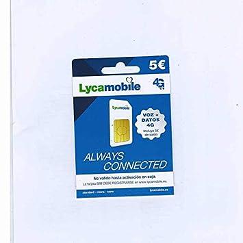Tarjeta SIM Lycamobile - 5 Registrate TÚ Mismo: Amazon.es ...