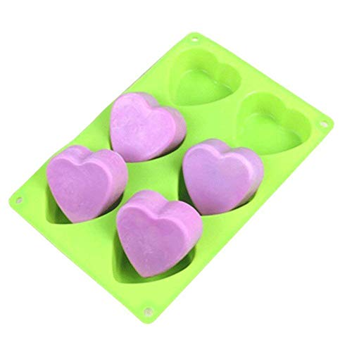 - ESA Supplies 6 Cavities Heart Soap Mold Silicone Cake Baking Mold Cake Pan Muffin Cups Handmade Soap Moulds Ice Cube Tray DIY Mold