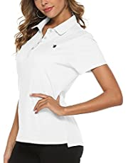BGOWATU Women's Golf Polo Short Sleeve Lightweight Dry Fit T-Shirts Moisture Wicking Quick Dry 4-Button