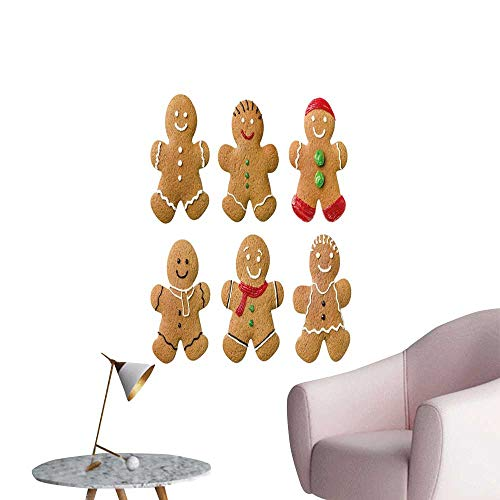 Camerofn Gingerbread Man Wall Mural Wallpaper Stickers Vivid Homemade Biscuits Sugary Xmas Treats Sweet Tasty Pastry Elevator Stairs Wall Light Brown Red Green W8 x H10]()