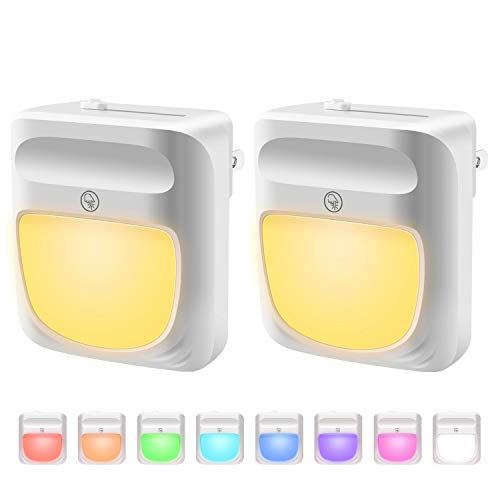 UZOPI Plug-in Night Light for Kids, Dimmable RGB Color Changeable LED Nightlight with Dusk-to-Dawn Sensor,Warm White Night Lamp for Baby Room, Bedroom, Hallway, Kitchen, Bathroom, Stairs (RGB 2PC)