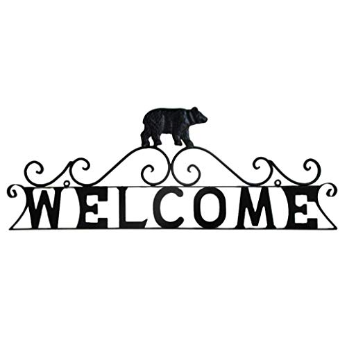 Mayrich Black Bear Welcome Sign, Rustic Cabin, Camp, Lakehouse Home Décor, Decorative Metal Wall Art Sculpture, Scrolled Wrought Iron -