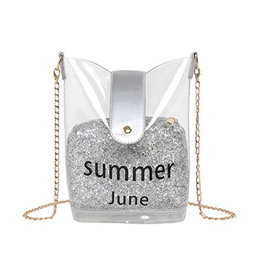 IslandseWomen's Bag Sequins Jelly Transparent Wild Messenger Bag Shoulder Bag (Silver)