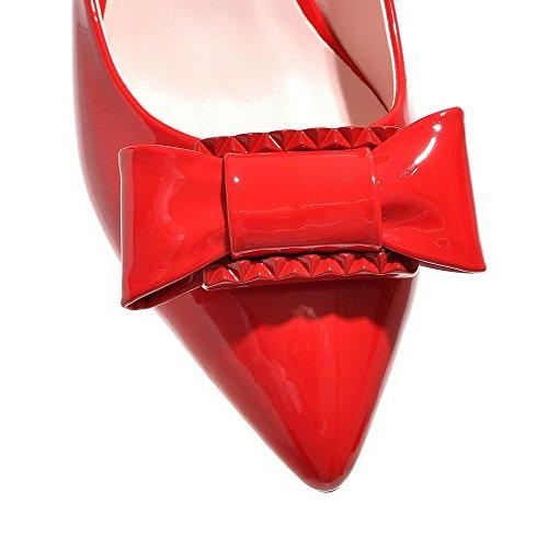 Ziehen Spitz Absatz Schuhe Lackleder Rot Damen Mittler Pumps Rein AllhqFashion Zehe auf w6qYTnxWSC
