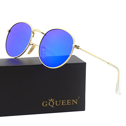 GQUEEN Retro Round Circle Lennon Polarized Sunglasses Mirrored Metal Alloy for Men Women MFF7