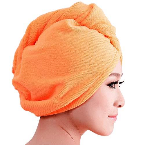 Microfiber Bath Towel Hair Dry Hat Cap Quick Drying Lady Bath Tool HP,Women's Hats & Caps,Orange