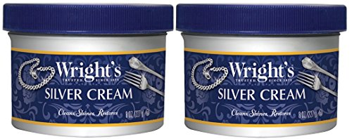 Wright's Silver Cleaner and Polish Cream- 2 Pack - 8 Ounce - Gently Clean and Remove Tarnish Without Scratching by Wright's