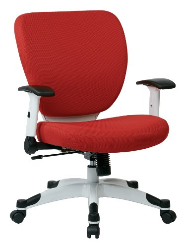 SPACE Seating Professional Deluxe Padded Mesh Seat and Back, 2-to-1 Synchro, Adjustable Arms and Tilt Tension with White Coated Nylon Base Frame Task Chair, Rouge Red
