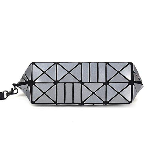 PU Wristlet Crossbody Handbag Grey Bag AiSi Pattern Women's Geometric Clutch pqWgI