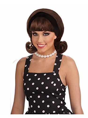 (Forum Novelties Women's Flirting with The 50's Costume Wig, Brown, One)