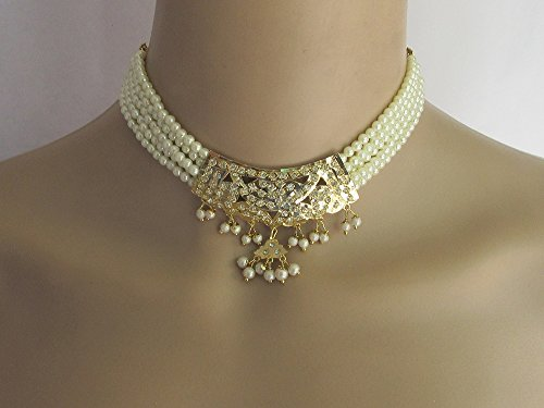 (Bridal Jadau Necklace Set/Choker Pearl Gold Pendant Necklace With Earrings/Indian Necklaces/Bridal Punjabi Pakistani Wedding Jewelry)