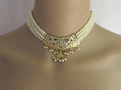 Bridal Jadau Necklace Set/Choker Pearl Gold Pendant Necklace With Earrings/Indian Necklaces/Bridal Punjabi Pakistani Wedding Jewelry Set