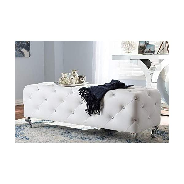 Baxton Studio Stella Crystal Tufted Modern Bench, White