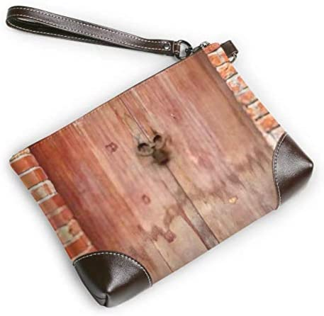 JHGFG Wristlet Handbag Old Wood Door Red Brick Leather Wristlet Clutch Wallet for Women Women Clutch Purse Smartphone Wristlet Purse
