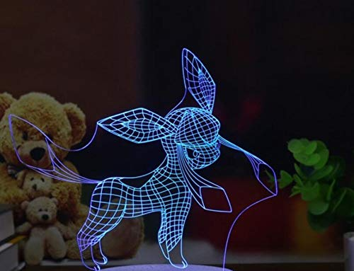 RTYHI 3D Night Light Cute Animal 7 Color Table Lamp USB Touch Remote Control Slide Home Decoration Children's Toys, C20-Touch