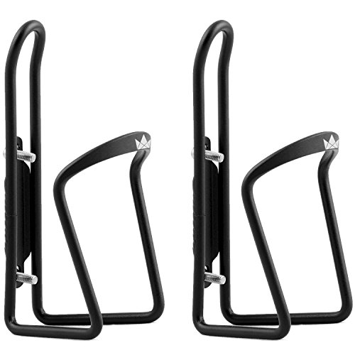 (The Friendly Swede Alloy Bicycle Water Bottle Holder Cage (2 Pack), Black)