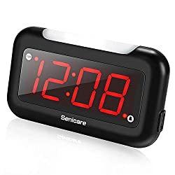 Senicare Home LED Digital Alarm Clock with Nightlight, Easy to Set, Full Range Brightness Dimmer, USB Charging Port, Snooze, Outlet Powered Compact Clock for Bedrooms, Bedside, Desk - Battery Backup
