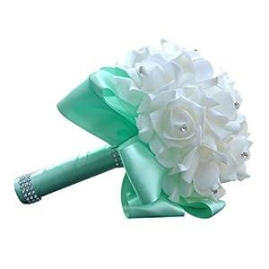 Transer Crystal Roses Pearl Bridesmaid Wedding Bouquet Bridal Artificial Silk Flowers (Sky Blue) 60