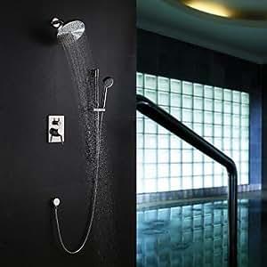 Níquel cepillado contemporáneos para montaje en pared deslizante ducha con 20,32 cm alcachofa y ducha de mano