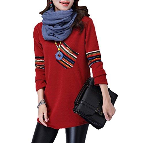 Damen Hochwertig Plaid Hemd Rundhals warmer Pullover Sweaters Langarmshirt (EU 38/L, Rot)